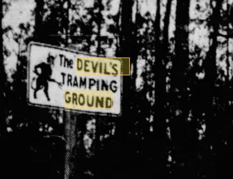 Devil's Tramping Ground sign from 1950s