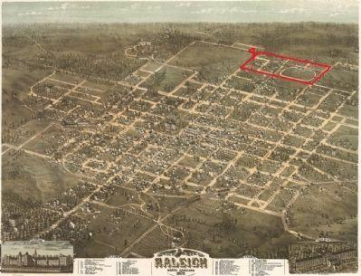 Historic map of Raleigh marks the original location of the N.C. State Fairgrounds.