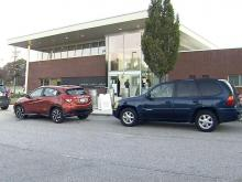 People line up for curbside voting in Durham