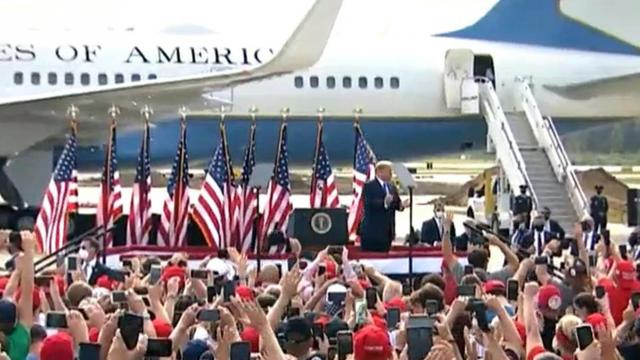 Hundreds of people were at the Pitt-Greenville Airport on Oct. 15, 2020, for a campaign rally by President Donald Trump.