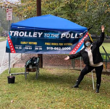 Trolley to the Polls is helping take voters to early voting locations.