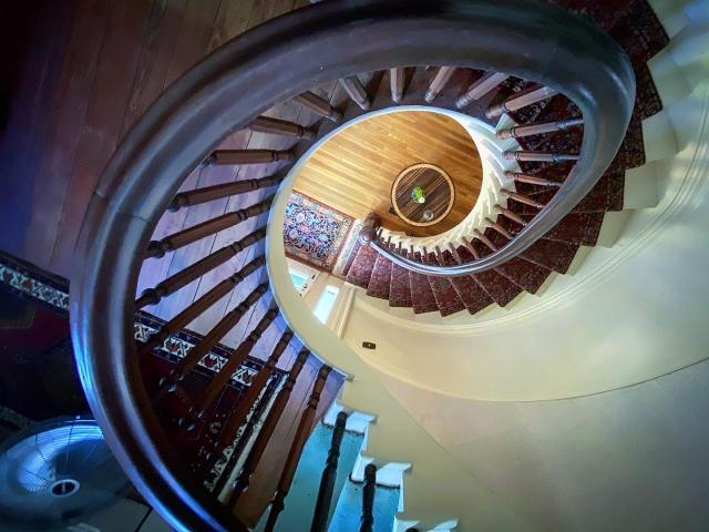 Spiral staircases inside the historic Elmwood 1820.