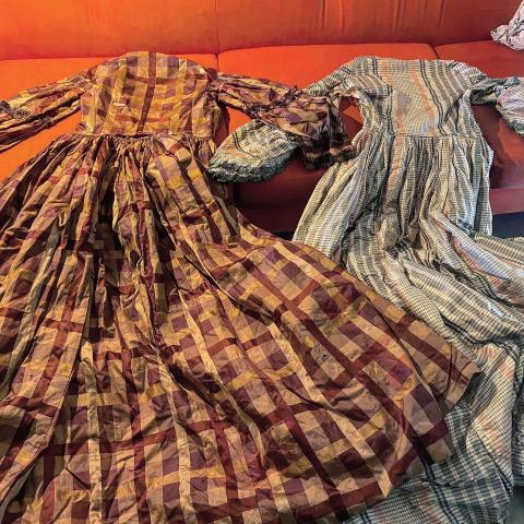 Historic dresses found in the attic of the Elmwood 1820.