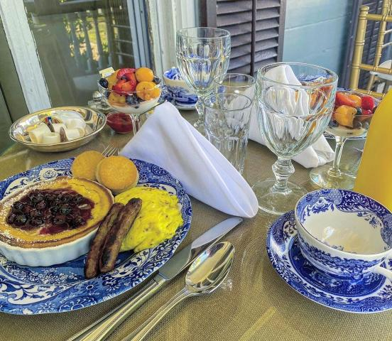 Southern style breakfast on the classic porch at Elmwood 1820 B&B