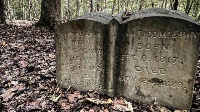 Antique headstones are around Cabelands Cemetery, but only 12 graves have official markers.