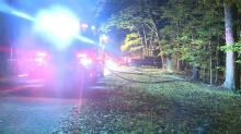 IMAGE: Northern Wake Fire Department tanker overturns responding to Raleigh house fire