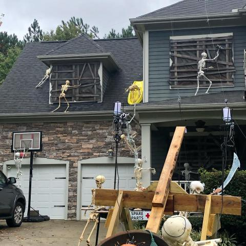 Skeleton house at Skygrove Drive in Holly Springs