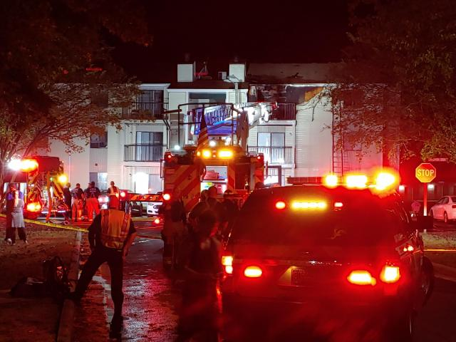 A third-floor apartment was damaged in a fire on Monday night in Fayetteville. <br/>Photographer: Chris Knight