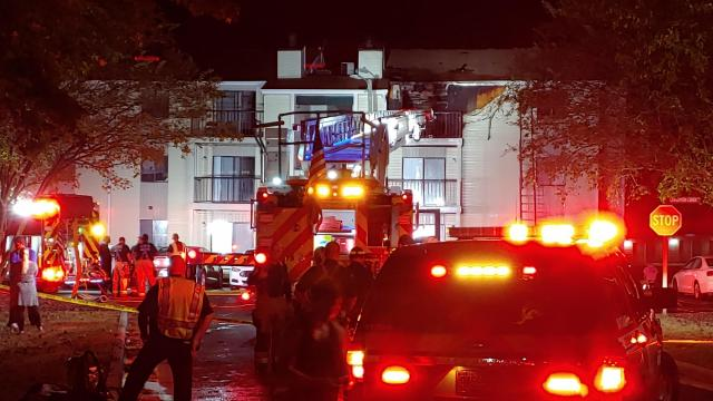 A third-floor apartment was damaged in a fire on Monday night in Fayetteville.
