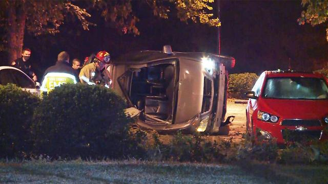 Driver loses control of car in west Raleigh