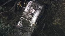 IMAGES: Tanker crashes, leaks more than 200 gallons of gas in Wake County