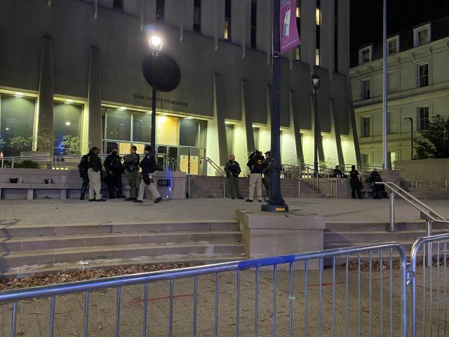 Barricades around courthouse<br/>Reporter: Rosalia Fodera