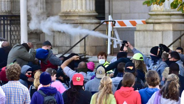 A spokesperson for the City of Graham said police sprayed the ground with pepper spray, but photographer Anthony Crider caught this image.