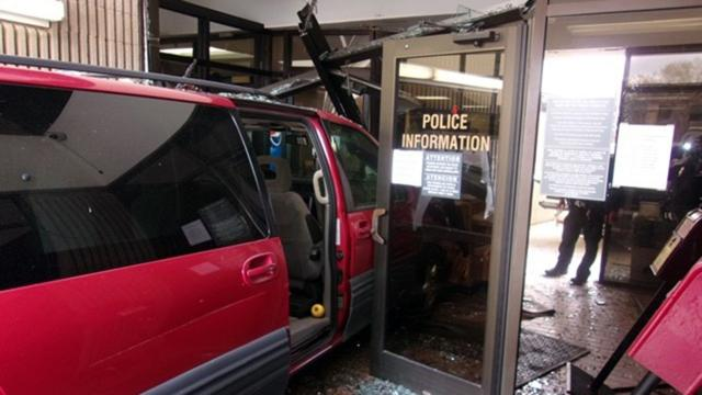 A minivan crashed through the front door of the Burlington Police Department on Nov. 13, 2020. (Photo courtesy of Burlington Police Department)