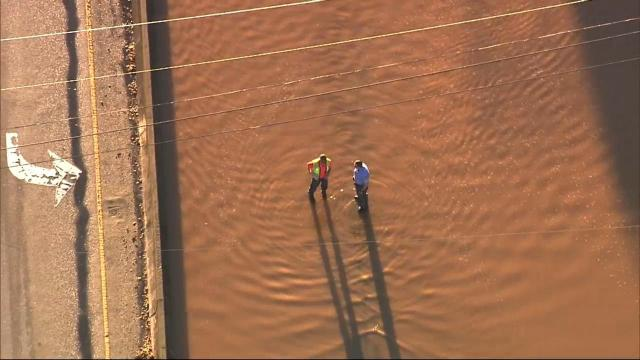 Part of Glenwood Avenue flooded near Crabtree Valley Mall