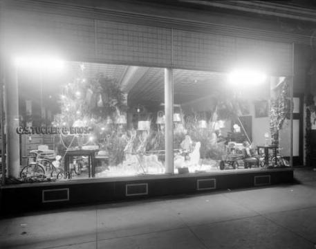 Christmas window at the G. S. Tucker and Brothers store. (Image courtesy of the State Archives of North Carolina)