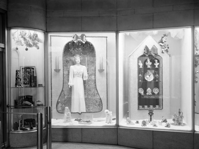 Christmas window display at Taylor's in 1946 (Image courtesy of the State Archives of North Carolina)