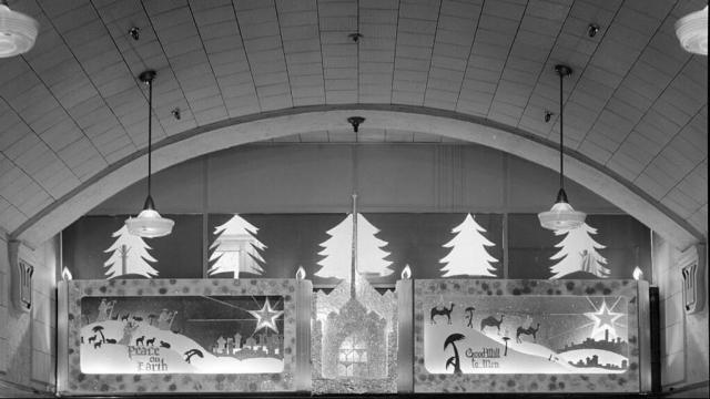 Eckerd's Drug Store Tobacco Counter and Christmas a Decoration 1941 (Image courtesy of the State Archives of North Carolina)