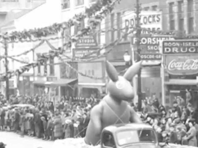 Vintage photo of the Raleigh Christmas Parade, which began in 1939.