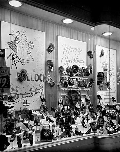 Pollock's Store Window Showing Christmas Decorations, 1939 (Image courtesy of the State Archives of North Carolina)