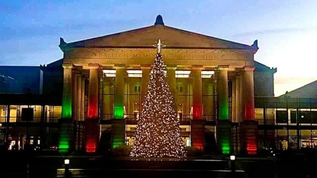 Raleigh Memorial Auditorium at Christmas, where the local tradition of watching A Christmas Carol takes place.