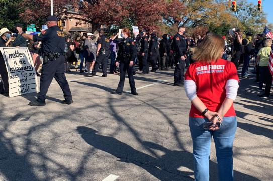 Raleigh police try to keep dueling protesters apart in downtown Raleigh