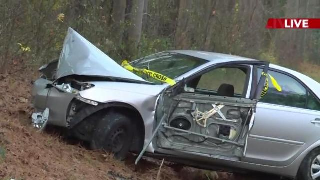 A car crashed into a tree on the side of US-64 in Wendell on Tuesday morning.