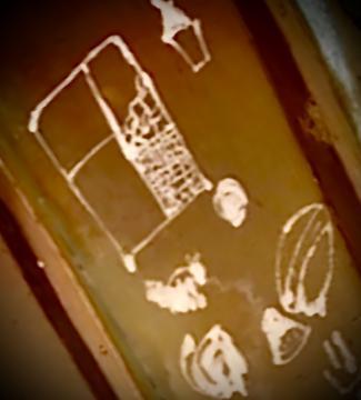 Benson's daughter drew doodles inside the Giant Acorn when she was 11.