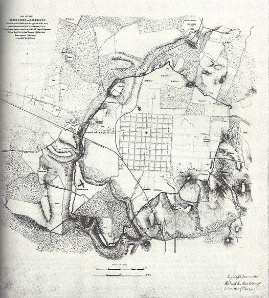 Historic map of the defensive line of earthworks that surrounded the City of Raleigh during the Civil War.