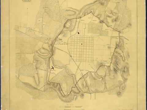 Historic map of the defensive line of earthworks that surrounded the City of Raleigh during the Civil War. Source for this map: U.S. National Archives and Records Administration, via Wikimedia Commons