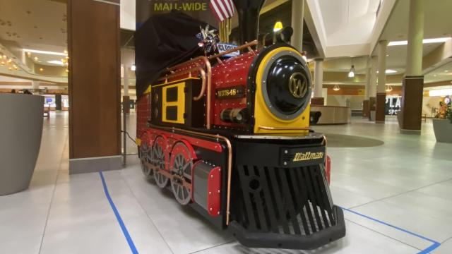 Cary Towne Center train: Closed in a vacant mall.