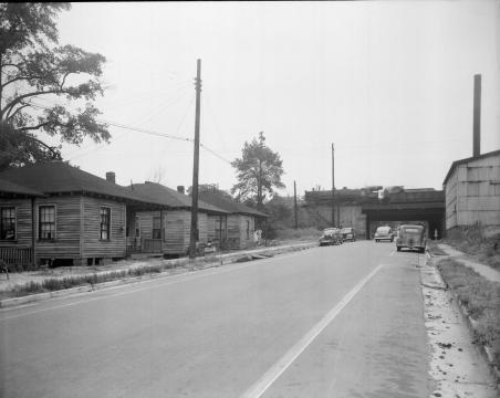 Part of what was called the 'Raleigh Slums,' on Peace Street in 1945. Courtesy of the State Archives of North Carolina.