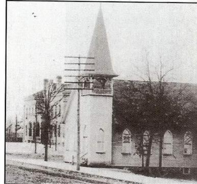 For many years before the Mansonic Lodge was built, this historic church stood on the site.