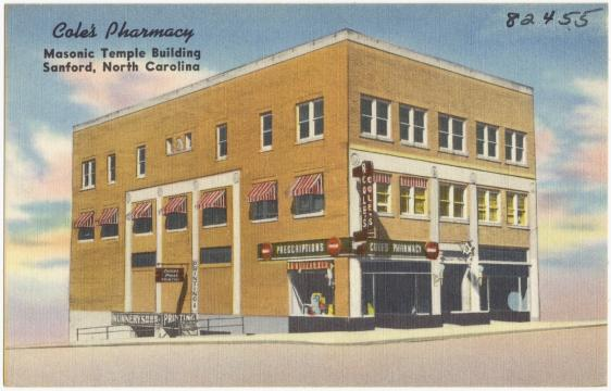 Cole's Pharmacy was also in the Masonic Temple building in Sanford, NC.