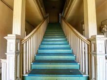 The original Masonic stairwell leading to the meeting room.