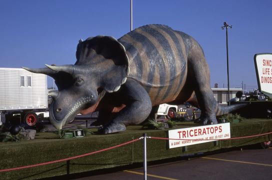 The Sinclair dinosaur exhibit at North Hills in the 1960s. Photo courtesy of Donna Baker.