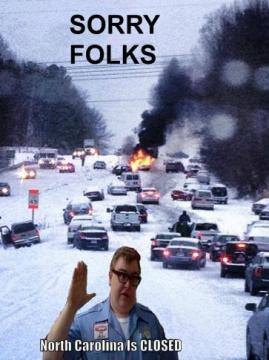 Sorry, folks! North Carolina's closed! On this day 7 years ago, this Glenwood Avenue snow photo went viral and turned into a national meme.