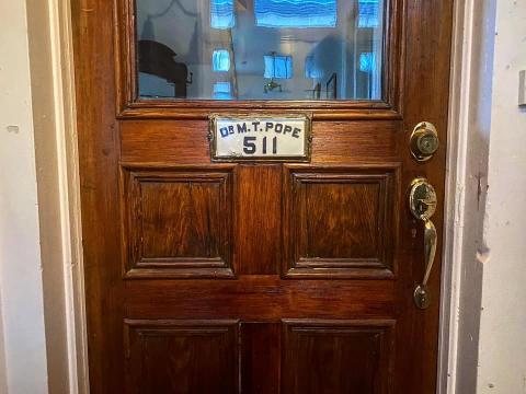 Dr. Pope's front door.