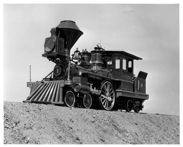 "[""C.P. Huntington"" locomotive], photograph, Date Unknown; (https://texashistory.unt.edu/ark:/67531/metapth28913/: accessed February 20, 2021), University of North Texas Libraries, The Portal to Texas History, https://texashistory.unt.edu; crediting Museum of the American Railroad."