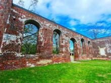 The prominent ruins of a Colonial church, called St. Philips Anglican Church, are still standing in Brunswick Town, NC.