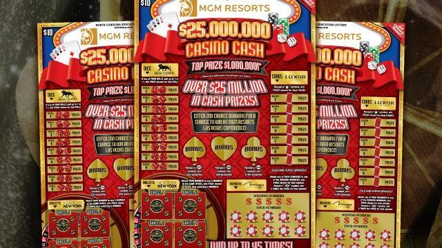 MGM Resorts $25,000,000 Casino Cash ticket. Credit: NC Education Lottery