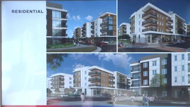 Renderings of residences on HUB RTP campus