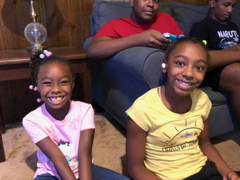 Two of the Dillard girls show their smiles.