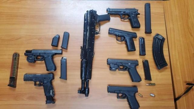 Tarboro police seized multiple guns and arrested four people on Saturday after a shooting and car chase. Credit: Tarboro Police Dept.