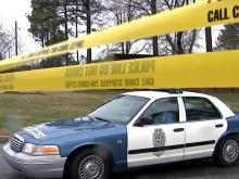 Raleigh police car, crime scene