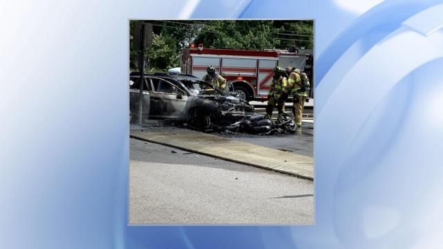 No one was injured in a fiery crash between a car and motorcycle in Raleigh on Saturday afternoon.
