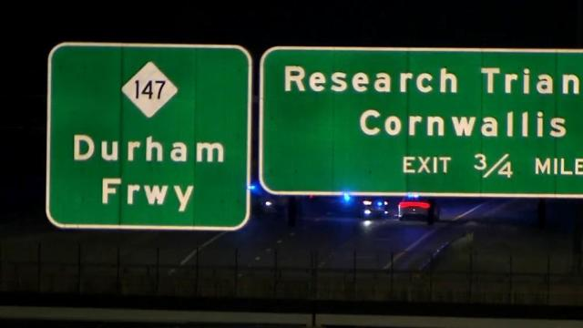 Authorities respond to a crash on the Durham Freeway on Tuesday morning.