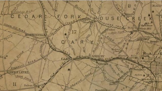 Origin of Cary's thoroughfare  names. Shaffer's Map of Wake County, N.C.