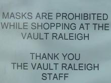 Downtown Raleigh store says 'masks are not allowed while shopping'