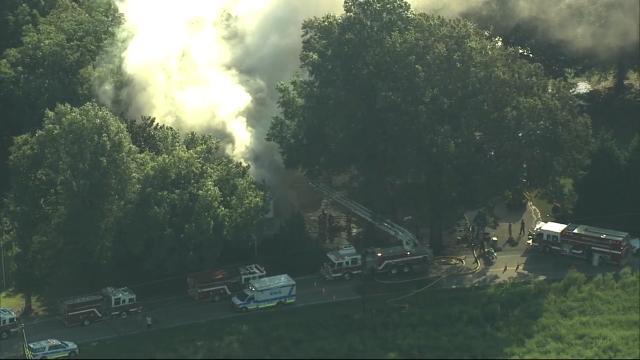 Crews battle blaze on Marshburn Road in Wendell